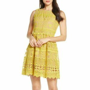 Chelsea28 Medium Yellow Lace Fit and Flare Dress